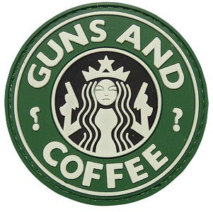 GUNS AND COFFEE 3D PVC HOOK BACKING PATCH - GREEN