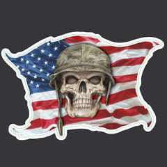 Skull Helmet USA Flag Sticker