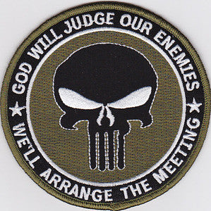 PUNISHER GOD WILL JUDGE OUR ENEMIES IRAQ OIF OEF OD GREEN MILITARY PATCH