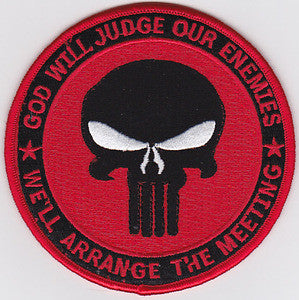 PUNISHER GOD WILL JUDGE OUR ENEMIES IRAQ OIF OEF STANDARD RED MILITARY PATCH