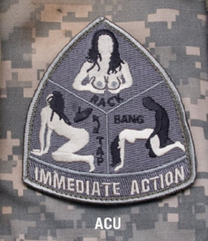 IMMEDIATE ACTION RACK TAP BANG ACU TACTICAL BADGE MORALE VELCRO MILITARY PATCH