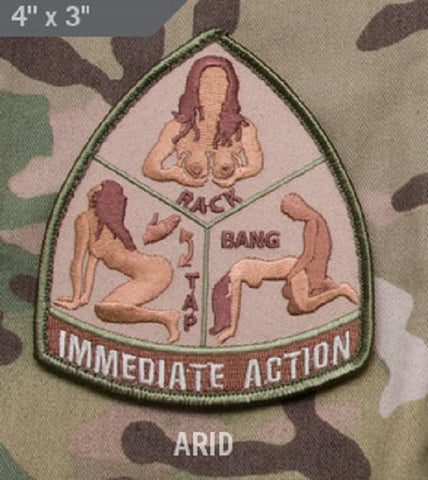 IMMEDIATE ACTION RACK TAP BANG ARID TACTICAL BADGE MORALE VELCRO MILITARY PATCH