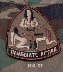 IMMEDIATE ACTION RACK TAP BANG FOREST TACTICAL BADGE MORALE VELCRO MILITARY PATCH