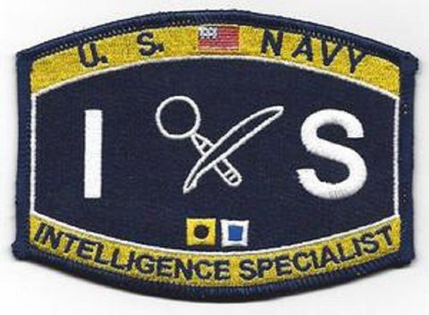 United States NAVY Administration and Technical Specialty Ratings Intelligence Specialist Military Patch - IS