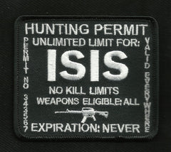 ISIS Hunting Permit Patch - Black