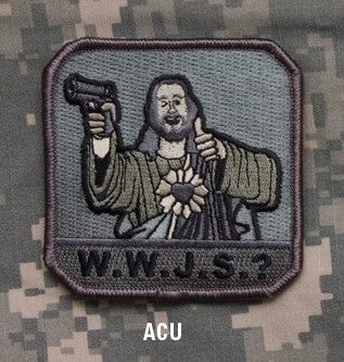 W.W.J.S.? - ACU - BLACK OPS TACTICAL COMBAT BADGE MORALE VELCRO MILITARY PATCH