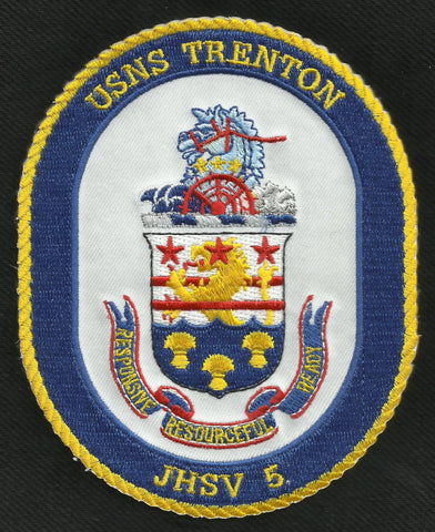 USNS TRENTON JHSV-5 JOINT HIGH SPEED VESSEL MILITARY PATCH RESPONSIVE READY