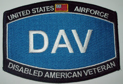 USAF AIRFORCE DISABLED AMERICAN VETERAN MILITARY PATCH - DAV HAT MOS PATCH