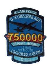 "USAF LOCKHEED MARTIN U-2 ""DRAGON LADY"" C.I.A. 750000 FLIGHT HOURS MILITARY PATCH"