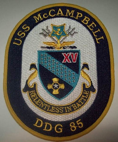 DDG-85 USS McCampbell Guided Missile Destroyer Military Patch RELENTLESS IN BATTLE