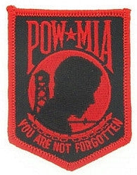United States ARMED FORCES POW MIA You Are Not Forgotten Military Patch - BLACK & RED