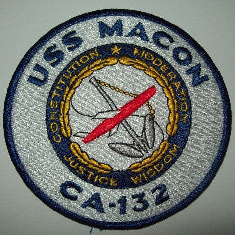 CA-132 USS MACON Heavy Cruiser Ship Military Patch CONSTITUTION MODERATION JUSTICE WISDOM