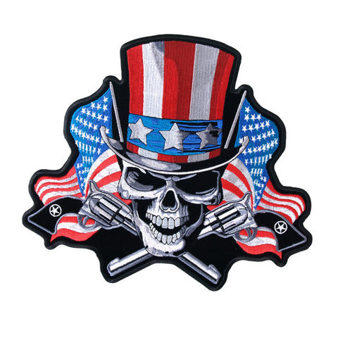 DEATH SKULL UNCLE SAM BIKER/ MILITARY MORALE PATCH