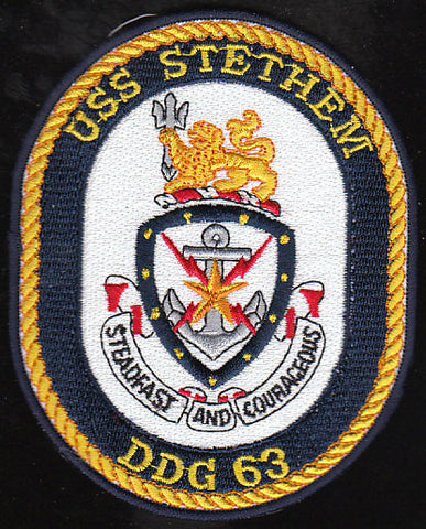DDG-63 USS Stethem Guided Missile Destroyer Military Patch STEADFAST AND COURAGEOUS