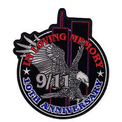 EAGLE & WORLD TRADE CENTER TOWER SHADOW PATCH 10th ANNNIVERSARY IN LOVING MEMORY