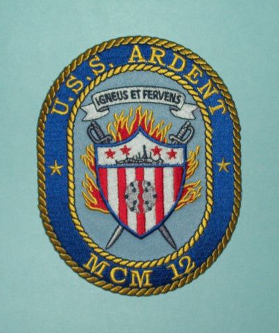 USS ARDENT MCM 12 AVENGER CLASS MINE COUNTERMEASURES SHIP MILITARY PATCH