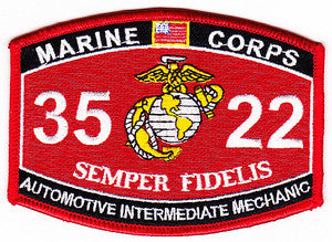 "USMC ""AUTOMOTIVE INTERMEDIATE MECHANIC"" 3522 MOS MILITARY PATCH"