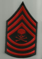MASTER SERGEANT DEATH SKULL ARM RANK PATCH - RED