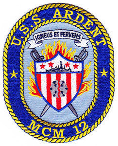 MCM-12 USS ARDENT Avenger-Class Mine Countermeasures Ship Military Patch IGNEUS ET FERVENS