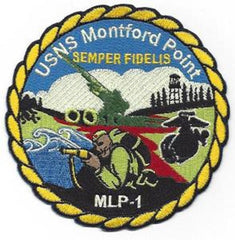 USNS MONTFORD POINT T-MLP-1 MOBILE LANDING PLATFORM MILITARY PATCH SEMPER FIDELIS