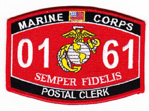 "USMC ""POSTAL CLERK"" 0161 MOS MILITARY PATCH SEMPER FIDELIS"