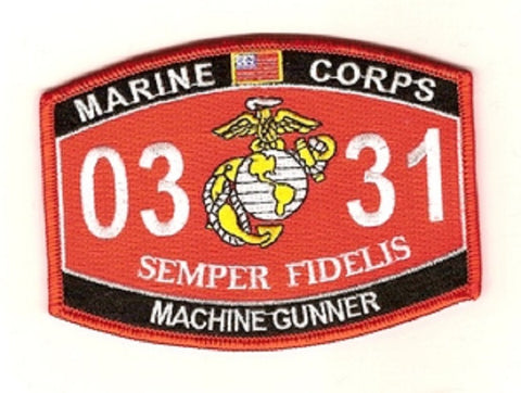 0331 MACHINE GUNNER USMC MOS MILITARY PATCH SEMPER FIDELIS