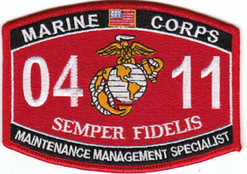0411 MAINTENANCE MANAGEMENT SPECIALIST USMC MOS MILITARY PATCH SEMPER FIDELIS