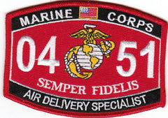 "USMC ""AIR DELIVERY SPECIALIST"" 0451 MOS MILITARY PATCH SEMPER FIDELIS"