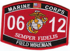 0612 FIELD WIREMAN USMC MOS MILITARY PATCH SEMPER FIDELIS