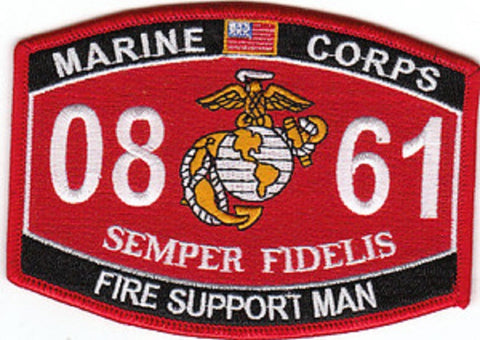 0861 FIRE SUPPORT MAN USMC MOS MILITARY PATCH