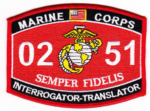 USMC 0251 INTERROGATOR TRANSLATOR MOS MILITARY PATCH - SEMPER FIDELIS