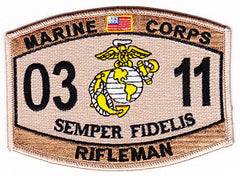 United States MARINE CORPS 0311 RIFLEMAN MOS DESERT MILITARY PATCH - SEMPER FI
