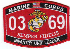 United States Marine Corps Military Occupational Specialty 0369 Infintrfy Unit Leader MOS Military Patch