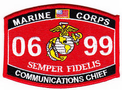 United States Marine Corps Military Occupational Specialty 0699 Communications Chief MOS Military Patch