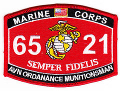 "US MARINE CORPS 6521 ""AVN ORDANANCE MUNITIONSMAN"" MOS MILITARY PATCH"
