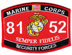 United States Marine Corps Military Occupational Specialty 8152 Security Forces MOS Military Patch