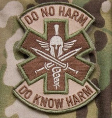 DO NO HARM SPARTAN TACTICAL COMBAT MEDIC BADGE - MULTICAM
