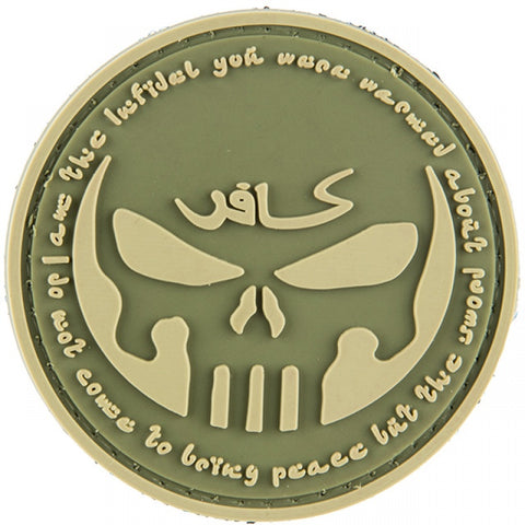 I AM THE INFIDEL YOU WERE WARNED ABOUT 3D PVC Hook Backing Patch - Green