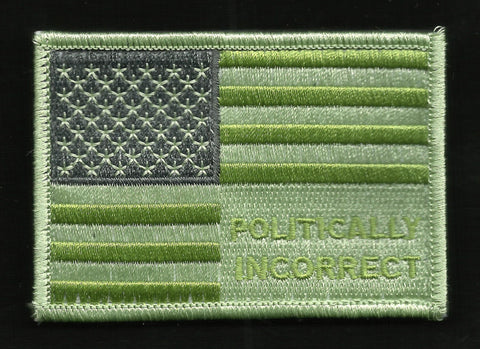 POLITICALLY INCORRECT USA FLAG VELCRO MORALE TACTICAL PATCH MULTICAM