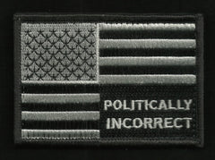 POLITICALLY INCORRECT USA FLAG VELCRO MORALE PATCH BLACK & SILVER