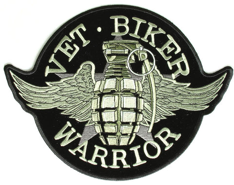 "Veteran Biker Warrior "" GRENADE "" Military / Biker Patch"