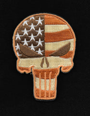 PUNISHER SKULL VELCRO MORALE PATCH - DESERT FLAG