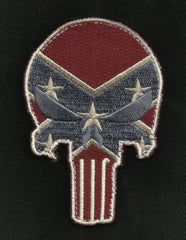 PUNISHER SKULL VELCRO MORALE PATCH - REBEL FLAG (COLOR)