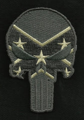 PUNISHER SKULL VELCRO MORALE PATCH - REBEL FLAG (ACU)