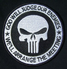 "GOD WILL JUDGE OUR ENEMIES PUNISHER TACTICAL MORALE SWAT VELCRO PATCH 4"" - Black Border"