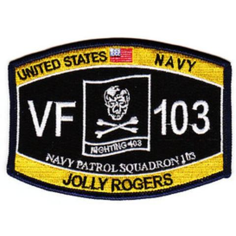 VF-103 Jolly Rogers Navy Fighter Squadron Hat Patch