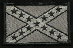 AMERICAN REBEL CONFEDERATE FLAG VELCRO PATCH SILVER