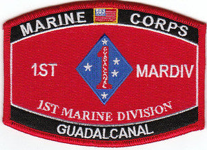 USMC - 1st MARDIV 1st Marine Division GUADALCANAL MOS  Military Occupational Specialty Military Patch