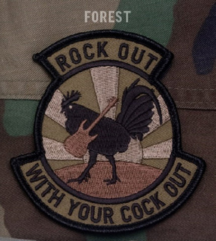 ROCK OUT TACTICAL COMBAT VELCRO MORALE PATCH - FOREST