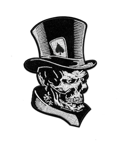 Death Card Skull Top Hat Embroidered Patch